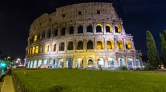 coliseum at night time lapse dolly shot - stock footage