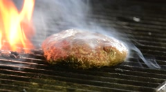Flame broiled burger - stock footage