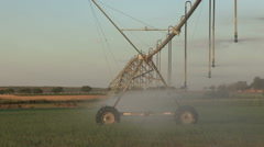 Centre pivot irrigation system moving slowly across vegetable fields,South - stock footage