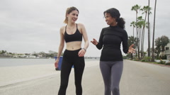Happy girlfriends walking after their run Stock Footage