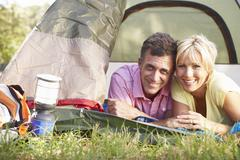 Middle Aged Couple On Camping Holiday In Countryside Stock Photos