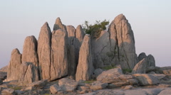 Zoom out on rock formations at Kubu Island, Botswana Stock Footage
