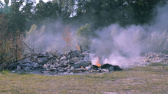 Burning garbage in the summerwoods in California Stock Footage