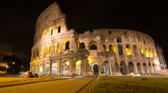 rome colosseum at night time lapse dolly shot - stock footage