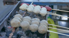 Cooking Meat Ball, Thai Food, Colourful Street Food Stock Footage