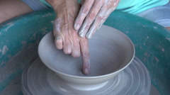 Woman throwing a pot on a potter's wheel,Cape Town, South Africa Stock Footage