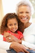 Senior African American woman and granddaughter Stock Photos