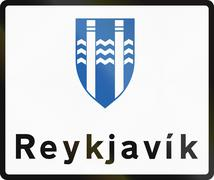Reykjavik Boundary Sign In Iceland Stock Illustration