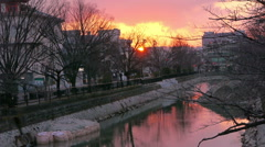 Sunset over River in Kyoto, Japan - stock footage