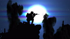 3718 Military Man Dropping Helment and Looking at War Under Moon Light, 4K Stock Footage