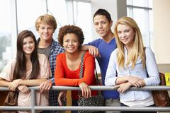 Stock Photo of Multi racial student group indoors