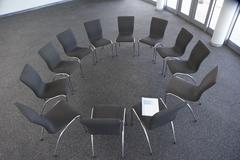 Empty Chairs Laid Out For Company Seminar Stock Photos