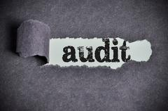 audit word under torn black sugar paper - stock photo
