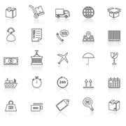 Logistics line icons with reflect on white - stock illustration