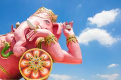 Beautiful Ganesh statue on blue sky at wat saman temple in Prachinburi provin - stock photo