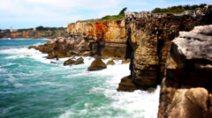 Cliff Waves, Tile Shift, Time Lapse, Cascais, Lisbon, Portugal Stock Footage