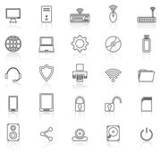Computer line icons with reflect on white - stock illustration