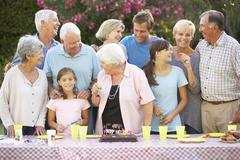 Large Family Group Celebrating Birthday Outdoors - stock photo