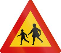 Watch Out For Children in Iceland Stock Illustration