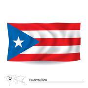 Flag of Puerto Rico - stock illustration