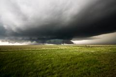 Supercell Thunderstorm & Wall Cloud - stock photo