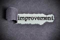 Improvement word under torn black sugar paper Stock Photos