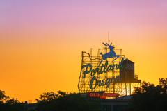 Portland Sign Sunset Kuvituskuvat