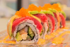 Tuna Avocado sushi roll Stock Photos