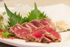 Fresh maguro tataki with vegetable Stock Photos