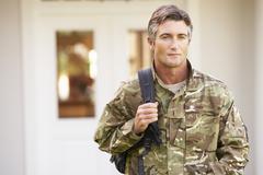 Soldier Returning To Unit After Home Leave - stock photo
