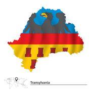 Map of Transylvania with flag - stock illustration