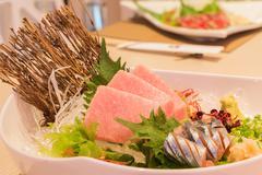 Otoro sashimi (Maguro) and shin samma sashimi, Japanese style food Stock Photos
