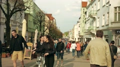 Sopot, Poland. Tourists at the main street in Sopot Stock Footage