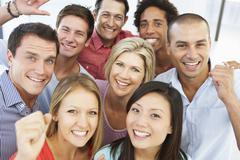 Elevated View Of Happy And Positive Business People In Casual Dress - stock photo