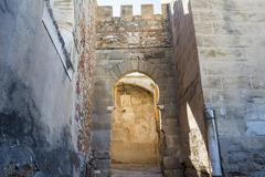 Battlements, pathways and towers of Badajoz muslim wall, Spain Stock Photos