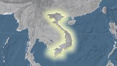 Vietnam outlined and glowed. Neighbourhood. Elevation - stock footage