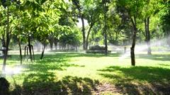 Green garden with water splashing Stock Footage