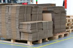 Large number of folded cardboard boxes Stock Photos