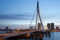 City Centre of Rotterdam in the Evening - stock photo