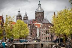 Old Town of Amsterdam in Spring Stock Photos