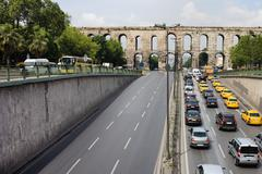 Ataturk Boulevard and Valens Aquedut in Istanbul - stock photo