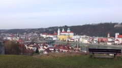 City of Passau from the south in Bavaria, Germany Stock Footage