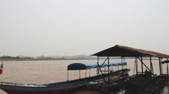 Boat at mekong River, Thailand Stock Footage