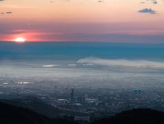 Panorama image of pollution city Stock Photos