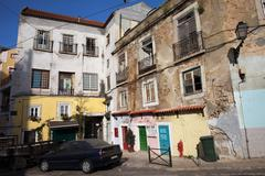 Picturesque Houses in Lisbon Stock Photos