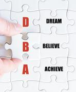 Concept image of Business Acronym DBA as Dream Believe Achieve - stock photo