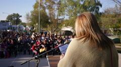 Woman giving a speech Stock Footage