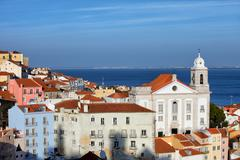 Alfama District in Lisbon Stock Photos