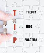 Concept image of Business Acronym TIP as Theory Into Practice Stock Photos