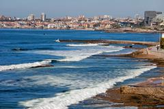 Atlantic Ocean Coast in Cascais and Estoril - stock photo